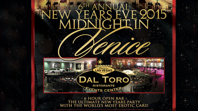 "Las Vegas Limo Service for ""Midnight In Venice"" NYE Event At Dal Toro"