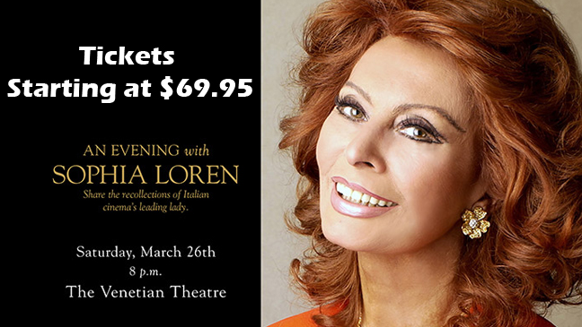 Limo Service to An Evening with Sophia Loren at the Ventian