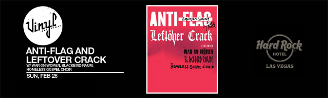 Anti-Flag & Leftover Crack w/War on Women, Homeless Gospel Choir, Blackbird Raum