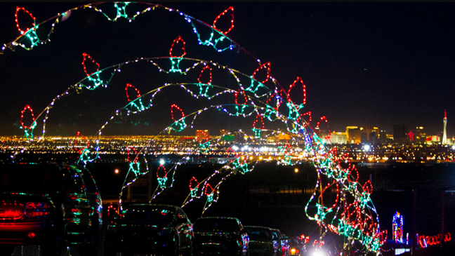 Glittering lights at las vegas motor speedway limo service for Motor speedway las vegas christmas lights