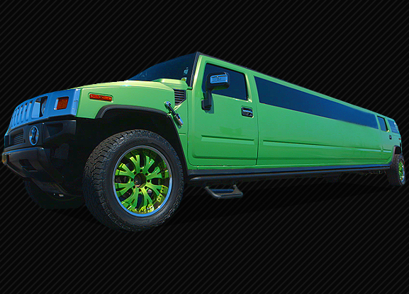 GREEN STRETCHED HUMMER LIMO