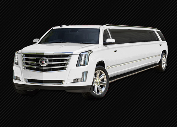 WHITE STRETCHED ESCALADE LIMO